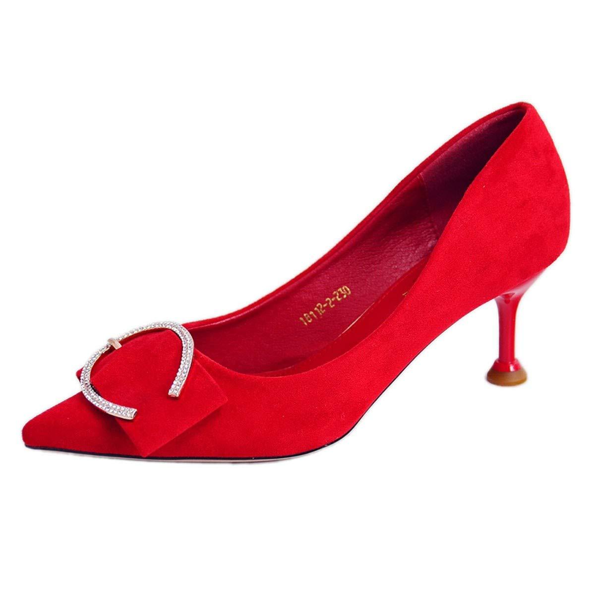GTVERNH Frauen Schuhe/Katze Heels Slim - Heels Diamanten Spitze 6 cm High Heels Nahen Heels Einzelne Schuhe Braut Die Hochzeit Frauen Schuhe Schuhe Mode