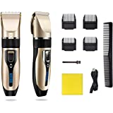 Cordless Mens Professional Hair Clippers, Rechargeable Electric Hair Clippers Trimmer Set Hair Cutting Kits for Men…