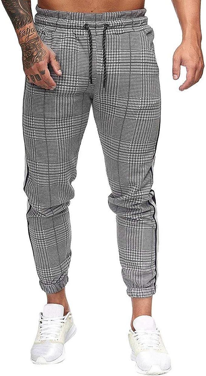 Men Plaid Pants Slim Casual Sport Trousers Joggers Slim Fit Skinny Sweatpants