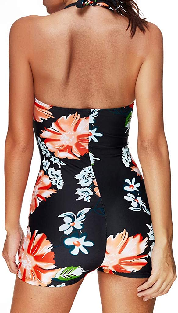 Womens Swimsuit Halter Tankini Top and Boyshorts Bottom Set Bathing Suits Modest Slimming Tummy Control Swimdress
