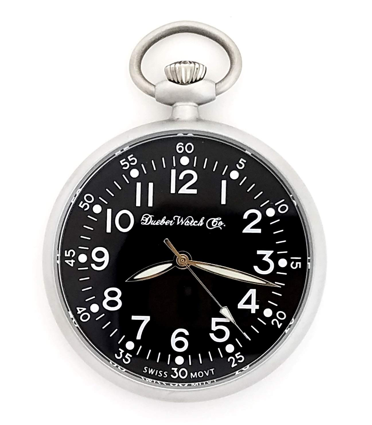 Dueber Military Style Pocket Watch with Black Dial, Lumious Hands, Satin Chrome Steel Case by Dueber Watch Co