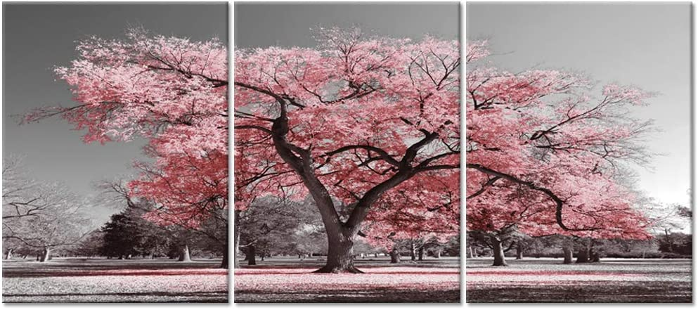 Visual Art Decor 3 Pieces Black and White Canvas Wall Art Pink Tree Landscape Picture Prints Framed and Stretched Painting Wall Decoration for Modern Living Room Office