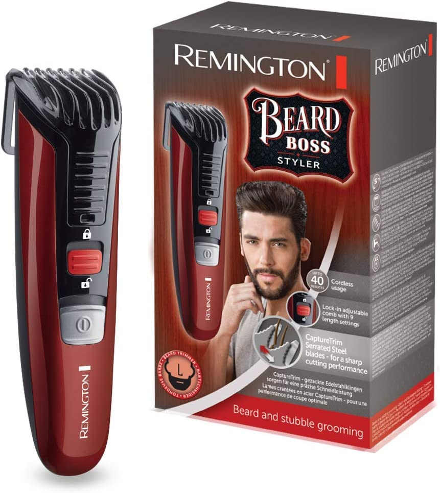 Remington Beard Boss Styler MB4125 Barbero, Cuchillas Serradas de Acero Inoxidable, Inalámbrico, 11 Ajustes, Rojo