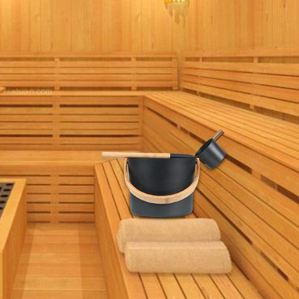 lingzhuo-shop Seau De Sauna 4 Pi/èces//Set Accessoire De Sauna pour Sauna Ensemble Louche C/èdre 7L avec Cuill/ère /À Long Manche Thermom/ètre Sablier//Hygrom/ètre Sauna Aromath/érapie Kit De Tasse Dhuile