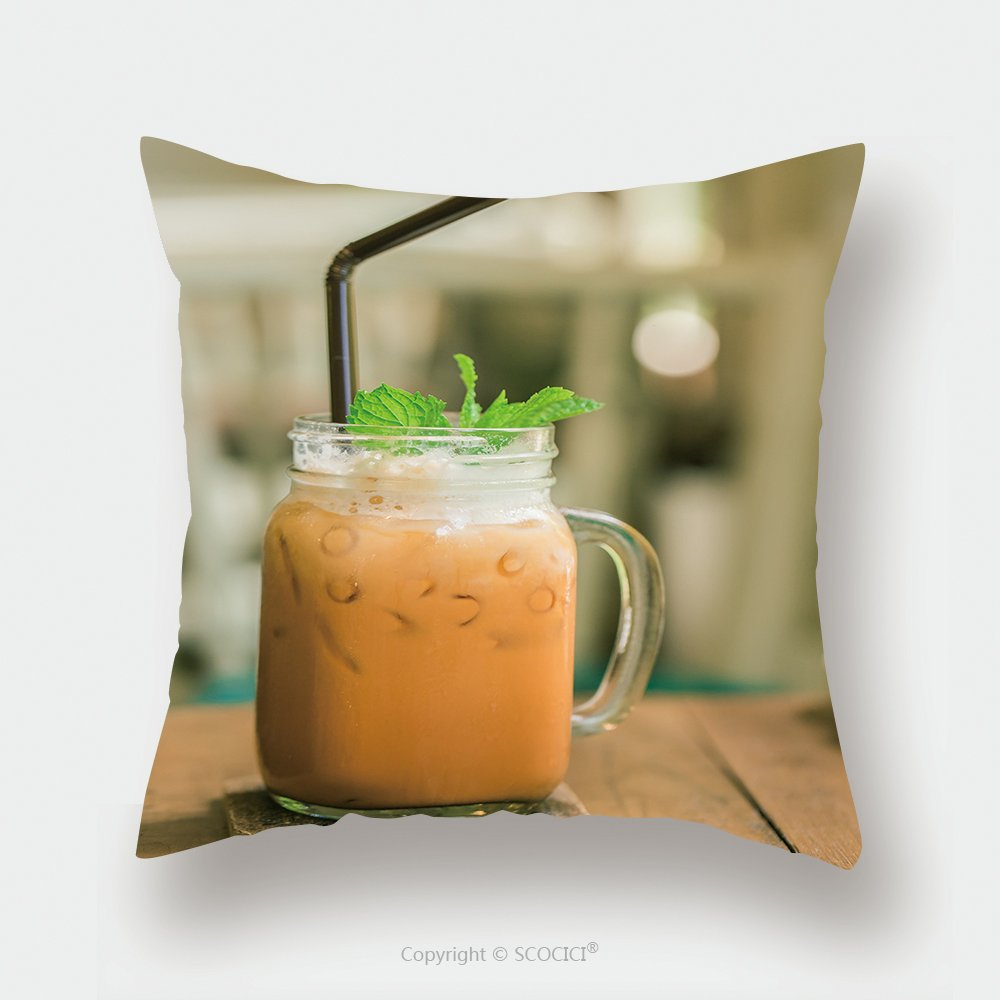 Custom Satin Pillowcase Protector Milk Thai Tea In Glass Mugs On Wood Table 290066756 Pillow Case Covers Decorative