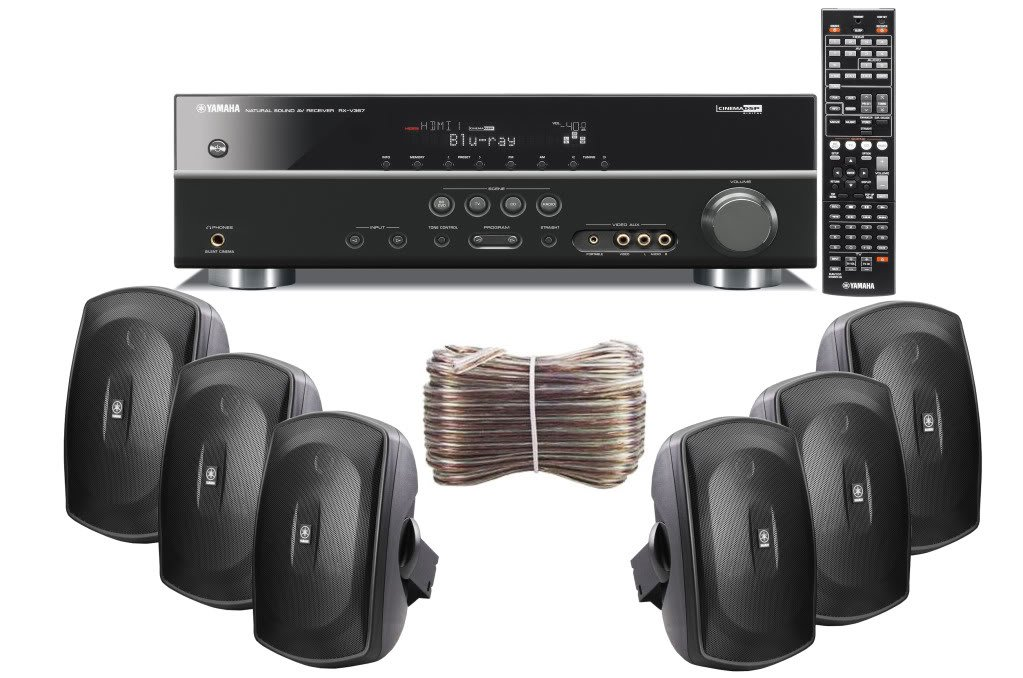 Yamaha 3D-Ready 5.1-Channel 500 Watts Digital Home Theater Audio/Video Receiver with 1080p-compatible HDMI repeater & Upgraded CINEMA DSP + Set of 6 Yamaha All Weather Indoor / Outdoor 130 watt Wall Mountable Natural Sound 2-way Acoustic Suspension Speake
