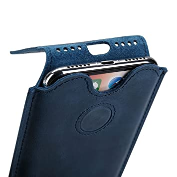 new product 96e9b 21ec4 TOOVREN iPhone XS X Pouch Sleeve, Genuine Leather Thin iPhone XS X Case  Luxury Magnetic Closure Vintage Series Cover for Apple iPhone XS / 10 / X  5.8 ...