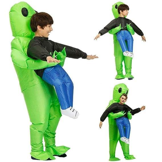 YUYIHAN Green Alien Carrying Human Costume Prop Ropa ...