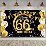 66th Birthday Party Decoration, Extra Large Fabric Black Gold Sign Poster for 66th Anniversary Photo Booth Backdrop Background Banner, 66th Birthday Party Supplies, 72.8 x 43.3 Inch