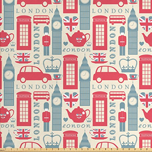 ric by the Yard, Popular British Culture Elements Retro Colors Flag Patterned Hearts, Decorative Fabric for Upholstery and Home Accents, Dark Coral Bluegrey Cream (British Valance)