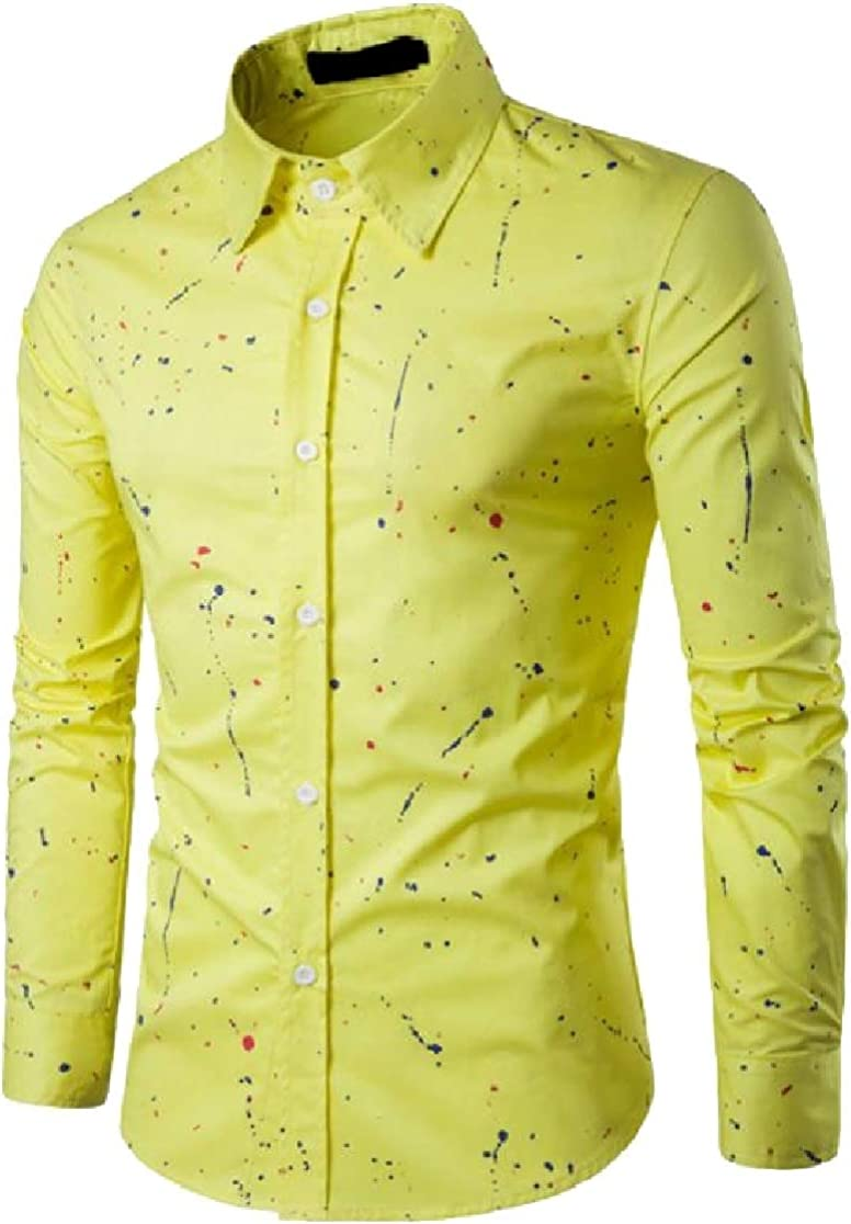 Joe Wenko Mens Slim Fit Printed Multi-Color Button Front Long Sleeve Shirts