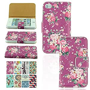 Voberry Newest Hot Sale Beautiful PU Leather Wallet Flip Case Cover Deluxe Retro Floral Case for iphone 4 4S (1)