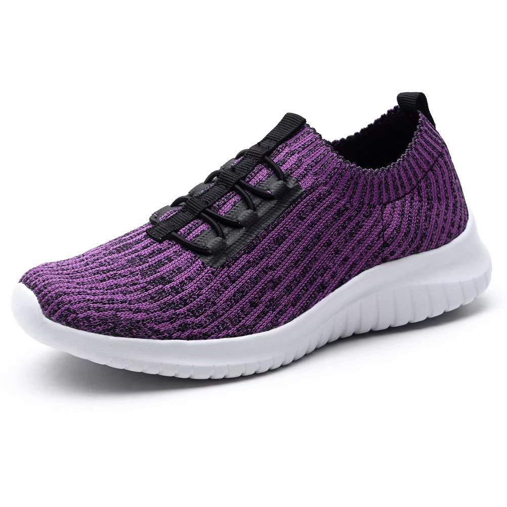KONHILL Women's Lightweight Athletic Running Shoes Walking Casual Sports Knit Workout Sneakers, Purple, 40