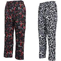 Almencla 2X Pantalones de Cocinero Holgado Cintura Elástica