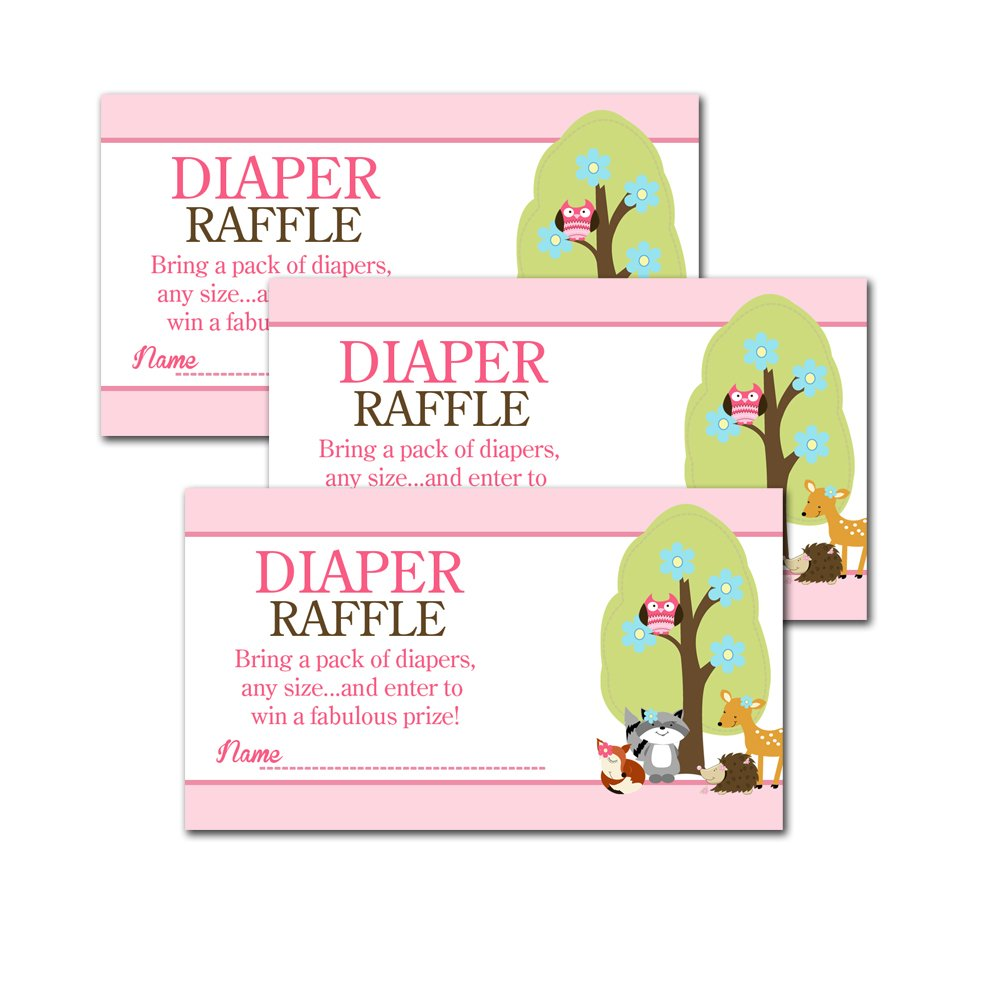 Woodland Girl Forest Animals Baby Shower Diaper Raffle Tickets 20-pack