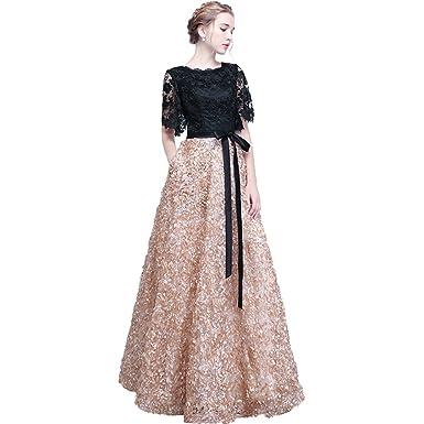 5958ee389e2 XIAOMING Robe de Soirée longue Robe de Bal Cocktail Dentelle Elegant pour  Femme Champagne 48