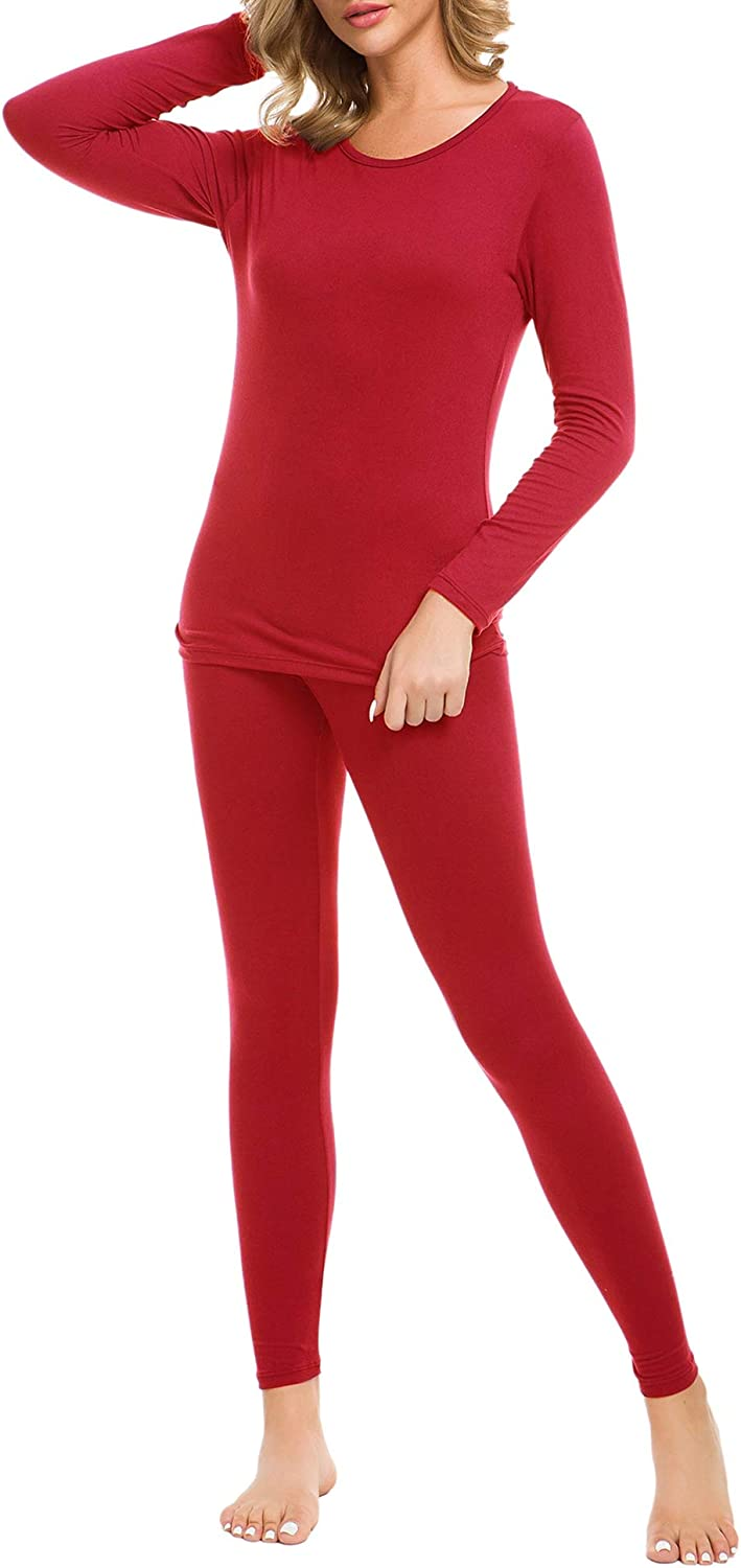 LOMON Thermal Underwear for Women Ultra Soft Smooth Knit Henley Long Johns Set Base Layer Top /& Bottom