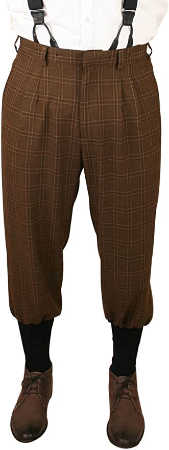 1930s Men's High Waisted Pants, Wide Leg Trousers Historical Emporium Mens Harvey Plaid Knickers $71.95 AT vintagedancer.com