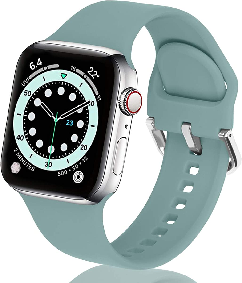 eCamframe Bands Compatible with Apple Watch Band 40mm 38mm 42mm 44mm,Soft Silicone Sport Replacement Wristband Compatible with iWatch Series 6 5 4 3 2 1 & SE Women Men