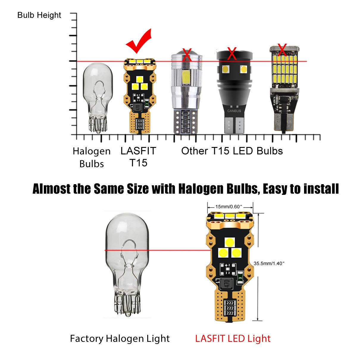 LASFIT 912 921 T15 906 W16W LED Light Bulb SMD 3030 Chipsets 1400 Lumens Extremely Bright for Car Interior Dome Trunk Reverse Backup Lights, Polarity Free, Xenon White(Pack of 2) by LASFIT (Image #6)