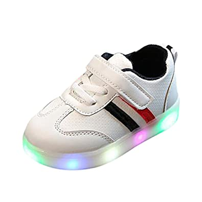 cd43333810a8 Lanhui Kids Child Baby Boy Girl Striped Shoes LED Light Up Luminous Sneakers  (Age