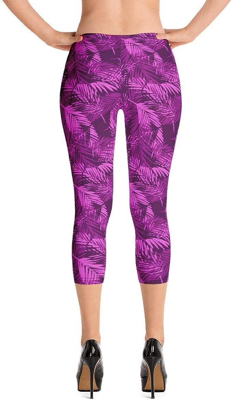Black Hot Pink Floral Print PelicanWild Womens Stretchy Capri Leggings Crop Tights