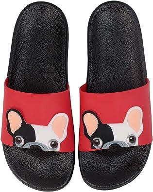 Cartoon Pitbull Dog Taco Print Summer Slide Slippers For Men Women Kid Indoor Open-Toe Sandal Shoes