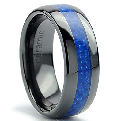 8mm dome mens black ceramic ring wedding band with blue carbon fiber inlay size 5