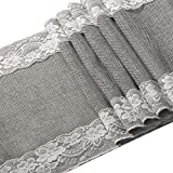 Ling's moment 12 x 108 Inch Grey Burlap Table Runner with Lace Trim for Rustic Chic Fall Wedding Party Home Dinning Table Dresser Decor/Machine Washable