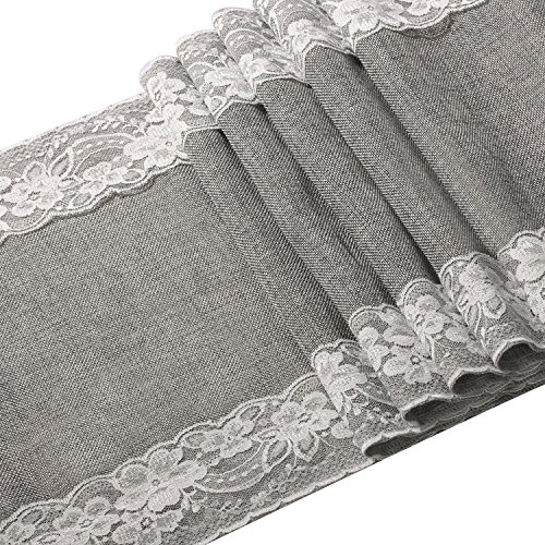 Ling's moment 12 x 108 Inch Grey Burlap Table Runner with Lace Trim for Rustic Chic Fall Wedding Party Home Dinning Table Dresser Decor/Machine -