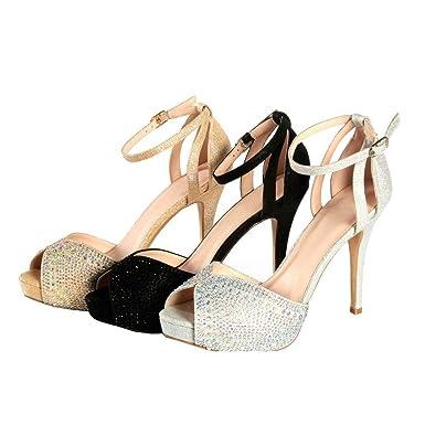 62b14d672 Sweetie's Shoes Silver Ankle Strap Sparkle Peep-toe Elegant Pumps 5.5 Womens
