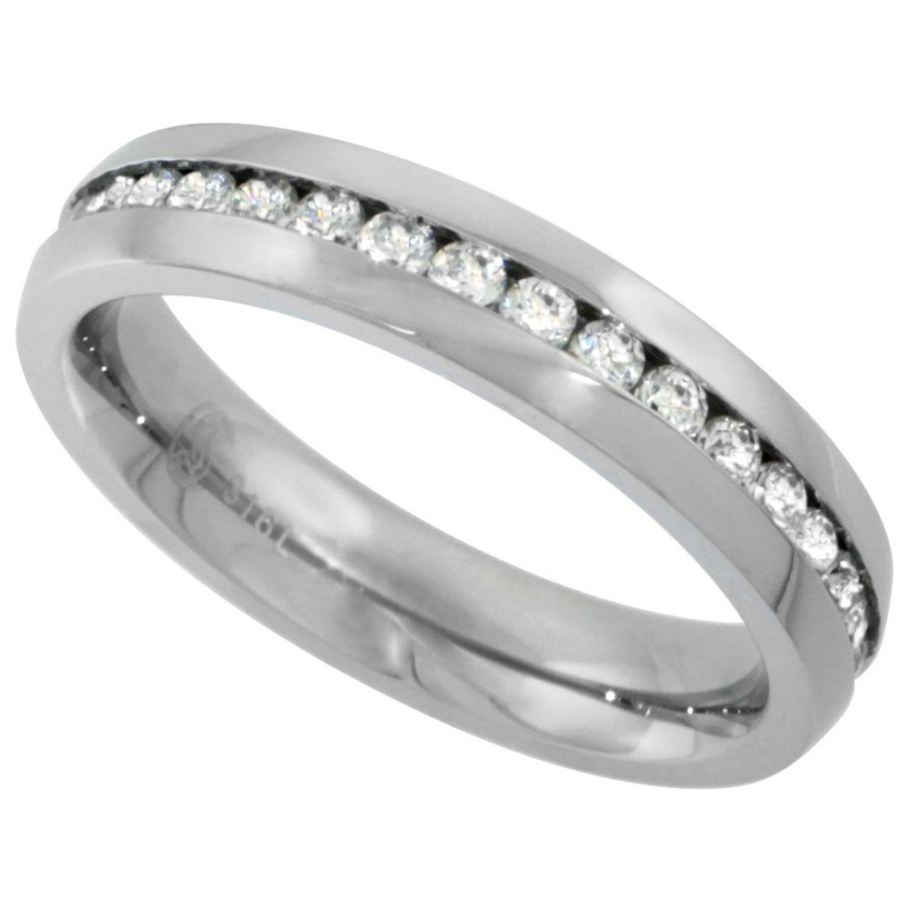 Surgical Stainless Steel Ladies 4mm CZ Eternity Ring Wedding Band Thin Comfort fit, size 8