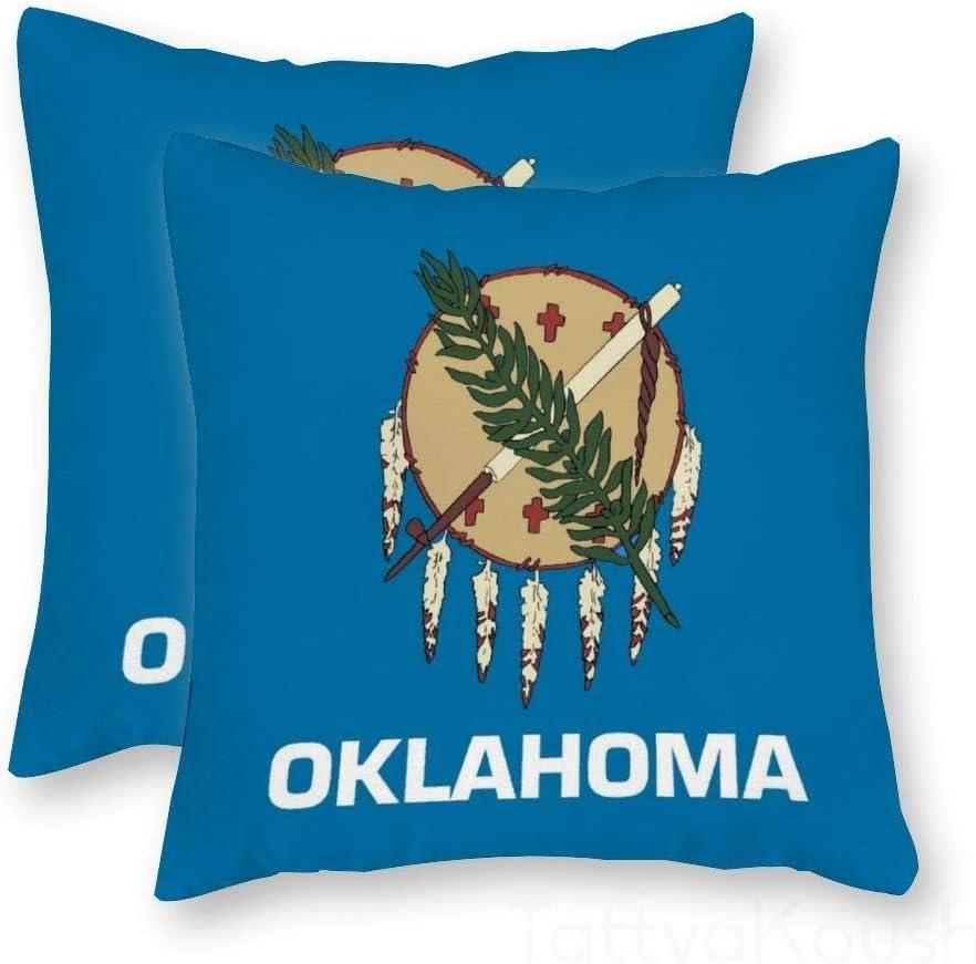 Amazon Com Tattyakoushi Throw Pillow Cover Decorative Velvet Pillowcase Oklahoma State Flag American Cushion Case For Sofa Bedroom Car 14 X 14 Inch Home Kitchen