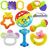 Ramakada Lovely Attractive Colorful Toddlers 7 Rattle and 1 Teether Toys Set for Babies