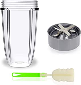 Blender Cup and Blade Replacement Kit, 32oz Transparent Cup, Extractor Blade for Replacement, and Extra Brush as Gift, Compatible with NutriBullet 600W / 900W Model, 3 Packs