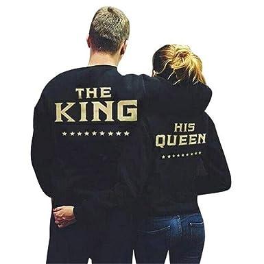 COCO clothing Otoño Negro Parejas Sudaderas King Queen de Mujer Hombre Basica Imprimen Sweatshirt Casual Pullover
