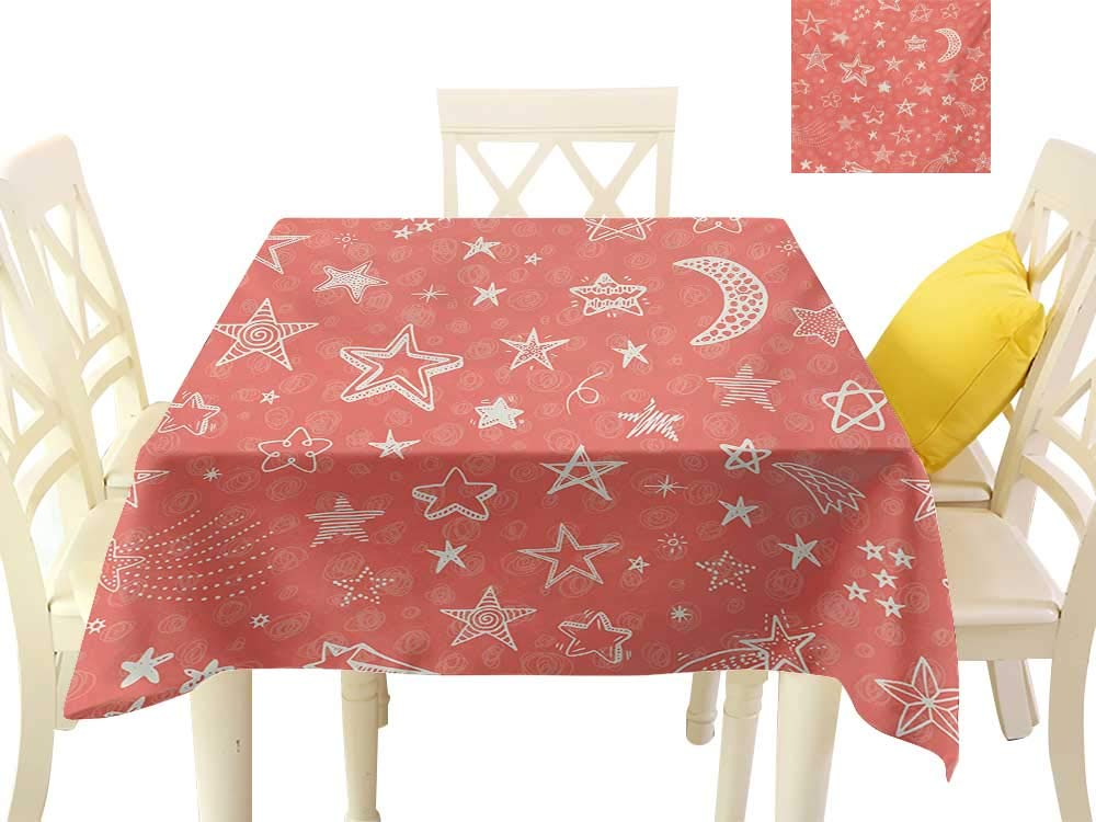 "familytaste Printed Tablecloth Star,Moon and Stars Theme Pattern Starry Night Shooting Stars Space Galaxy Kids Style,Coral White Dining Kitchen Table Cover W 36"" x L 36"""