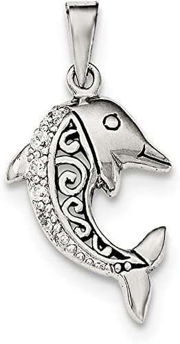 Sterling Silver Antiqued Dolphin Pendant