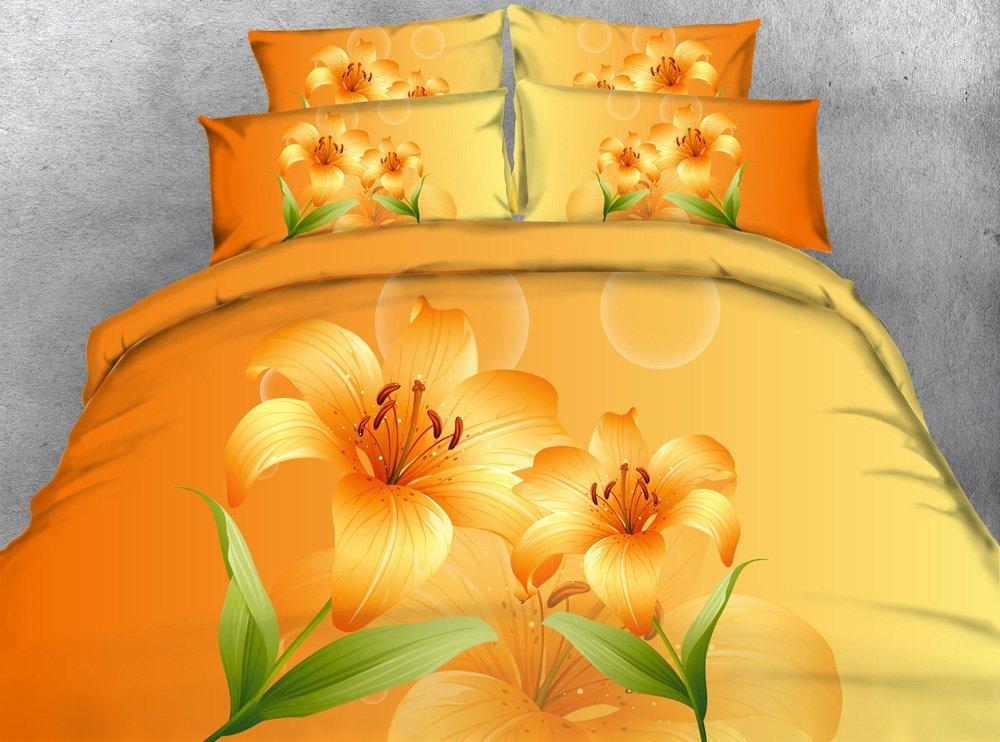 3d印刷オレンジ花寝具セットツインフル/クイーンキングCalキングコットン/ポリエステルDovetカバーセットピローホームテキスタイル寝室セット3個入り キング グリーン B0788J4Y68  キング