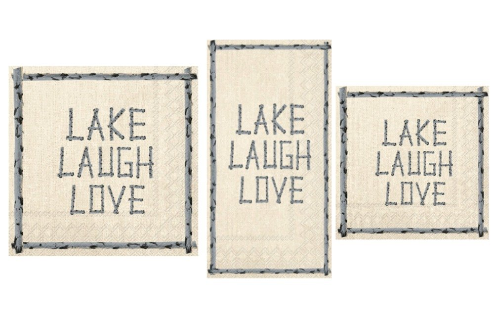 Lake Theme Napkins Set - Bundle Includes Guest Towels, Lunch Napkins, and Beverage Napkins in a Lake Laugh Love Design by TLP Party (Image #1)