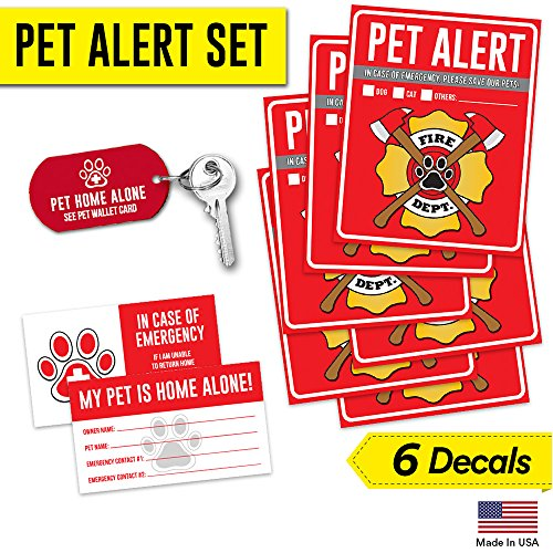 "61vHTd0GgAL - Pet Alert Fire Rescue Sticker - (4) 5"" x 4"" Window Decal - (2) Animal Care Wallet Cards - (1) Pet Home Alone Key Tag - In Case of Emergency Sign Kit - Save Our Pets Cats Dogs Birds Inside Accessories"