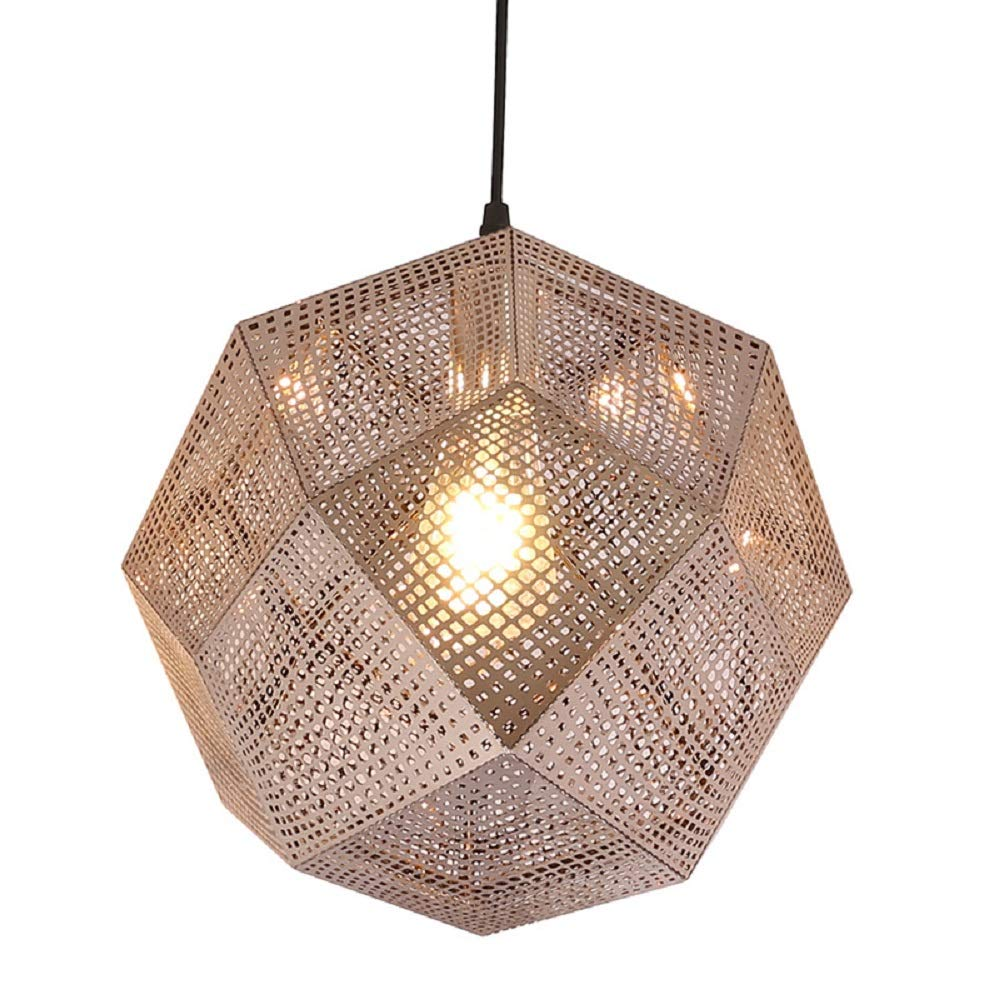 Nordic Meal Chandelier Personality Hollow Multi-Faceted Ball Ceiling Lamp Luxury Post-Modern Creative Stainless Steel Geometric Restaurant Chandelier (Color : Gold)
