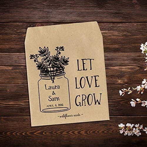 Custom Seed Packets, Personalized Wedding Favor, Wildflower Seed Packets, Wedding Seed Packets, Seed Packet Favor, Mason Jar, Seed Packets, Floral Wedding Favor, Let Love Grow, Wildflower Favor x ()