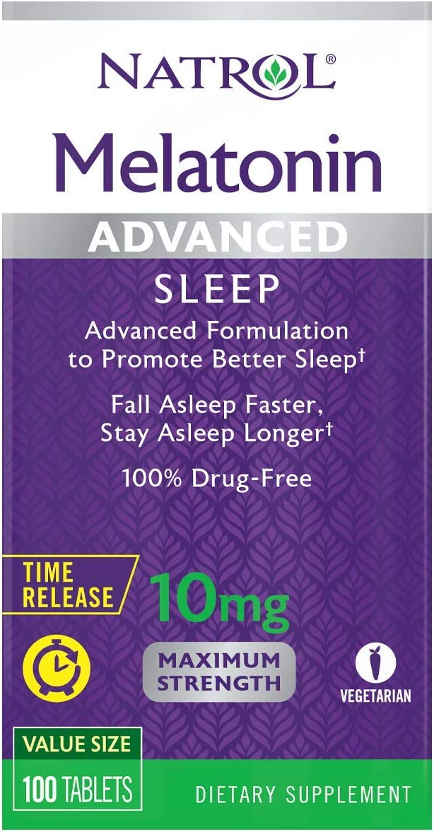 Natrol Melatonin Advanced Sleep Tablets with Vitamin B6, Helps You Fall Asleep Faster, Stay Asleep Longer, 2-Layer Controlled Release, 100% Drug-free, Maximum Strength, 10mg, 100 Count: Health & Personal Care