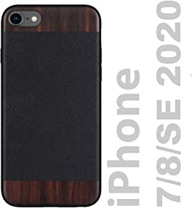 iATO iPhone 7/8/SE 2020 Case Wood & Leather. Unique & Classy Black Saffiano Genuine Leather & Real Natural Bois de Rose Wood {Shockproof & Raised Lips} iPhone 7/8/SE 2020 Real Wood & Leather Case