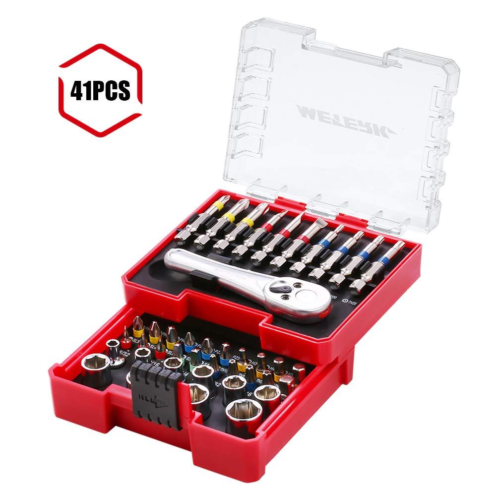 Meterk 41 Pcs Mini Ratchet and Bit Set Socket Wrench Screwdriver Set with 1 Socket Wrench 1/4'' Drive, 1 Adapter, 10 Sockets and 29 Screwdriver Bits( 25mm and 50mm), Multipurpose Ratchet Bits Set by Meterk (Image #1)
