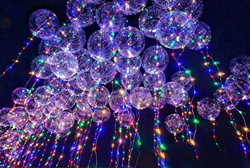 2 Pack LED BoBo Balloon Premium Transparent with 3M Led String Copper Lights, Flashing Latex Party Balloon Perfect for Wedding Celebrations Party Bar Nightclub Rave and Birthday (24 Inch, White)]()