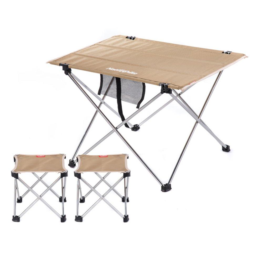 QIANGDA 屋外/アウトドア 折りたたみ テーブル椅子 3セット 柔軟で便利な 安定した耐久性 アルミニウム合金 ポータブル、 M/L オプション (色 : カーキ, サイズ さいず : M) B07CTMV1R1 M|カーキ カーキ M