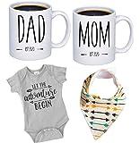 """Pregnancy Gift Est 2020 - New Mommy and Daddy Est 2020 11 oz Mug Heart Set with""""Let Adventurer Begin"""" Romper (0-3 Months…"""