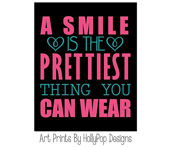 Amazon.com: Teen girl wall art - A smile is the prettiest thing you ...